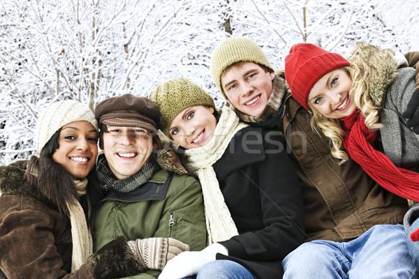 Сток-фото: группа · друзей · за · пределами · зима · молодые
