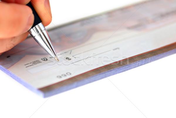 écrit vérifier main chèque affaires Photo stock © elenaphoto