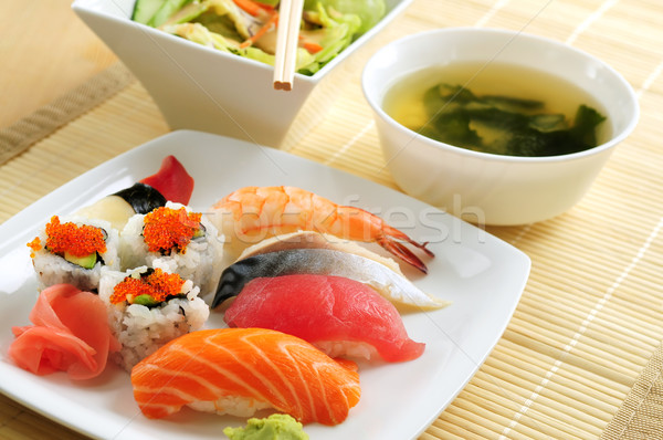 Sushi almoço sopa verde salada comida Foto stock © elenaphoto