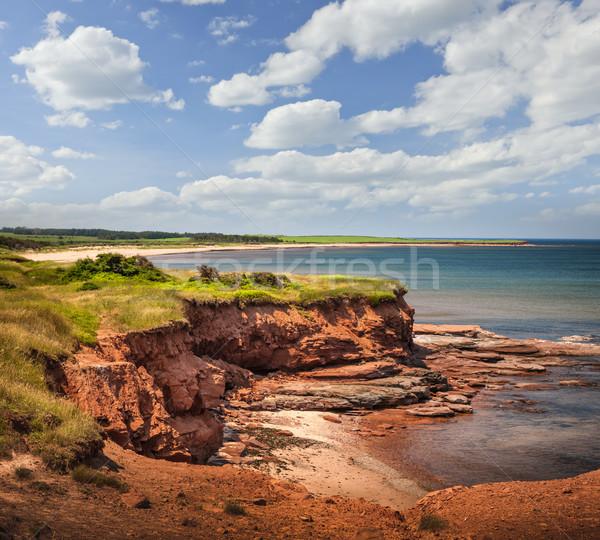 Prince Edward-sziget part piros sziklák pont víz Stock fotó © elenaphoto