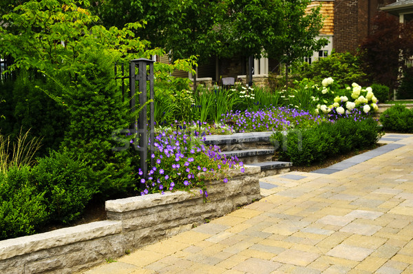 Stock photo: Landscaped  garden and stone paved driveway
