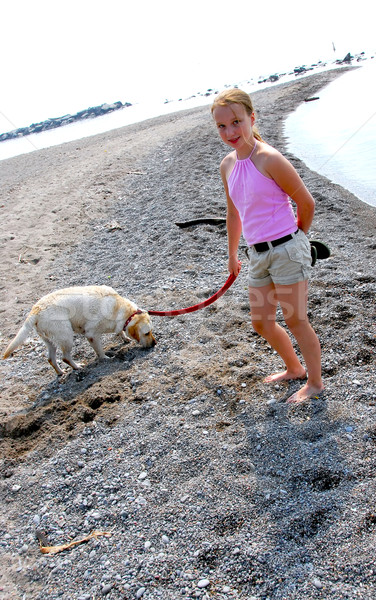 Girl walking dog Stock photo © elenaphoto