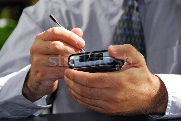 Man handen pda kantoor hand Stockfoto © elenaphoto
