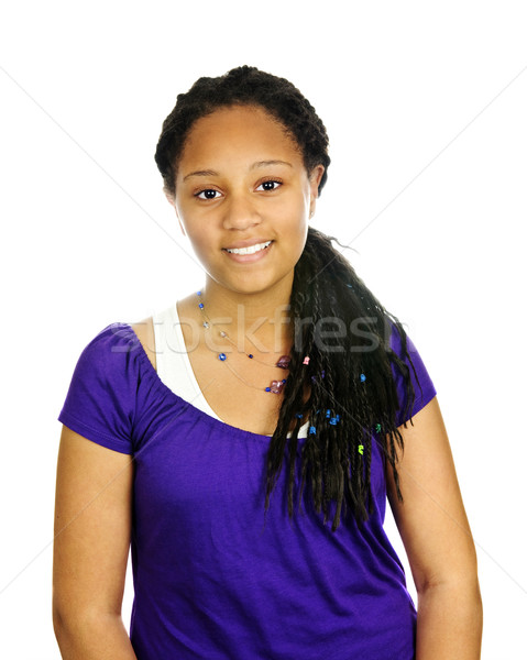 Tinilány izolált portré gyönyörű fekete boldog Stock fotó © elenaphoto