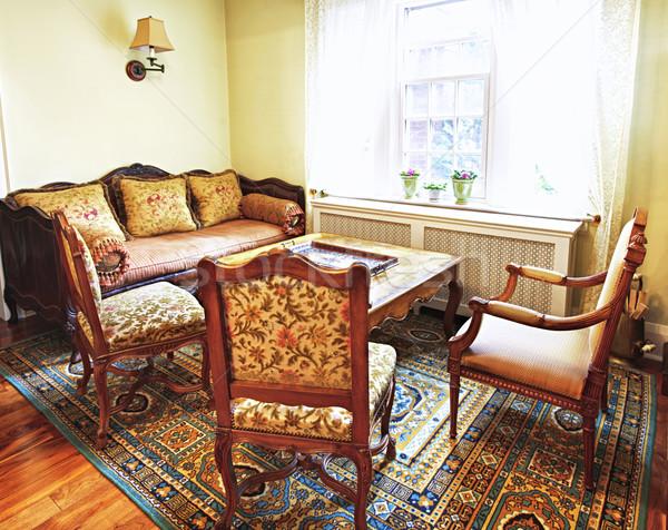 Stock foto: Innenraum · antiken · Möbel · Wohnzimmer · home · Fenster