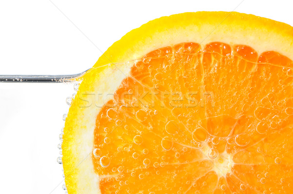 Orange slice water witte oranje vruchten lucht Stockfoto © elenaphoto