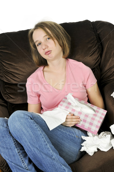 Tinilány hideg ül szék papírzsebkendő doboz Stock fotó © elenaphoto