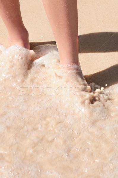 Feet washed in ocean wave Stock photo © elenaphoto