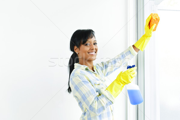 Stock photo: Smiling woman cleaning windows