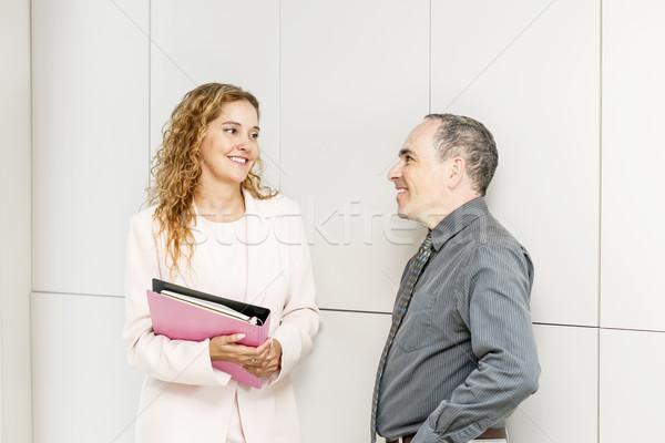 бизнеса говорить прихожей человека женщину Сток-фото © elenaphoto