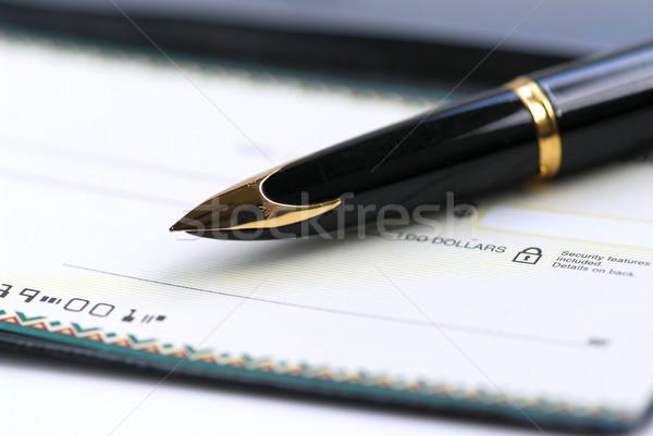 çek defteri kalem altın kontrol iş Stok fotoğraf © elenaphoto