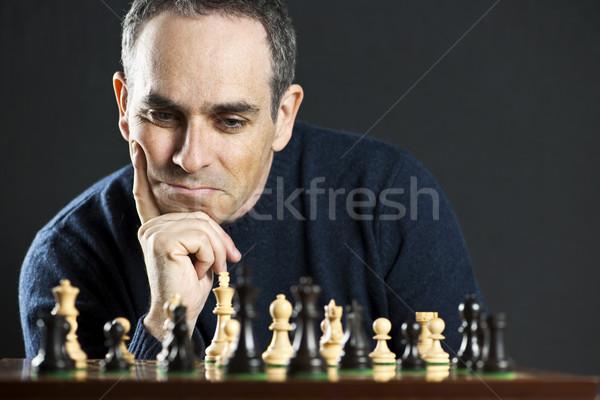 Człowiek szachownica szachownica myślenia szachy strategii Zdjęcia stock © elenaphoto
