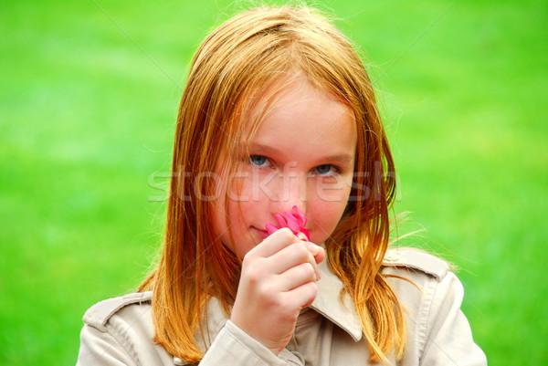 Girl flower Stock photo © elenaphoto