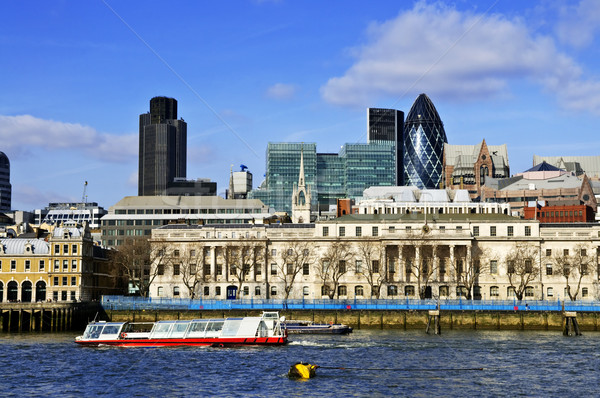London sziluett Temze folyó kilátás kék ég Stock fotó © elenaphoto