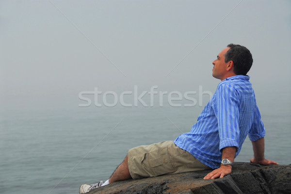 Man looking fog Stock photo © elenaphoto