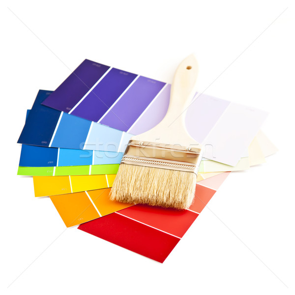 Paint brush with color cards Stock photo © elenaphoto