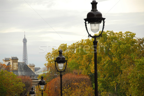 Paris rue France automne jour maison Photo stock © elenaphoto
