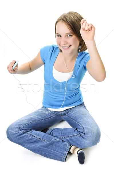 Musik hören mP3-Player Tanz Hintergrund Mädchen Stock foto © elenaphoto
