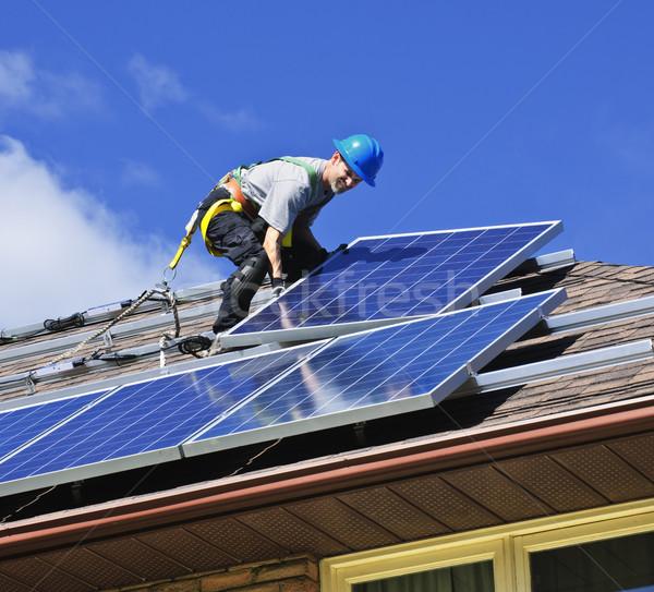 Photo stock: Panneau · solaire · installation · homme · autre · énergie