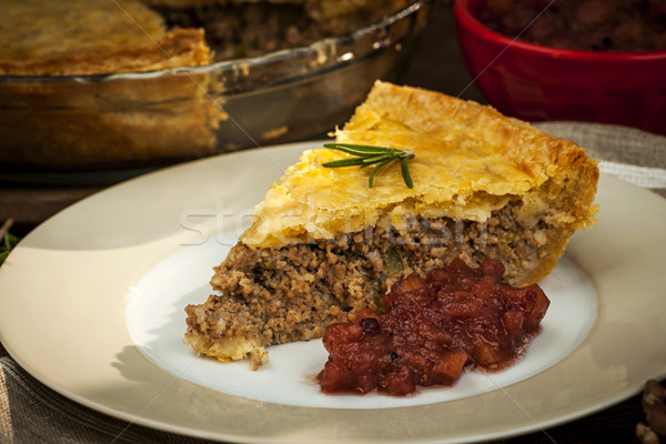 Stock photo: Slice of meat pie Tourtiere