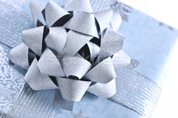 Stockfoto: Christmas · geschenkdoos · witte · vak · Blauw