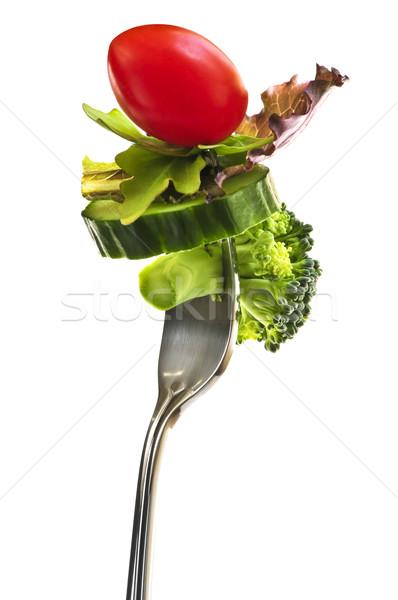 Verduras frescas tenedor aislado blanco salud fondo Foto stock © elenaphoto