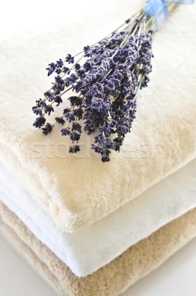 Toalhas macio isolado branco fundo Foto stock © elenaphoto