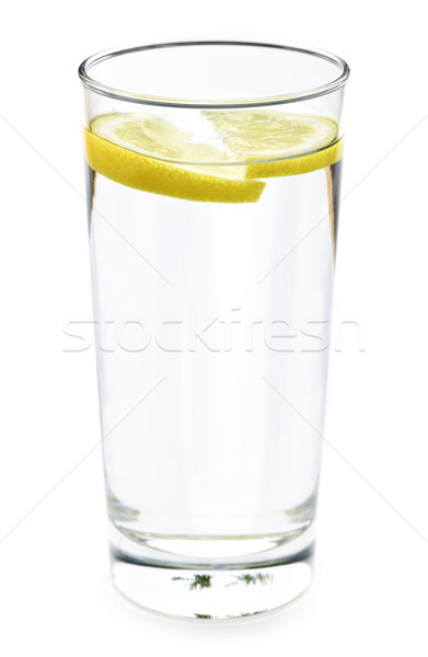 Stock photo: Glass of water with lemon