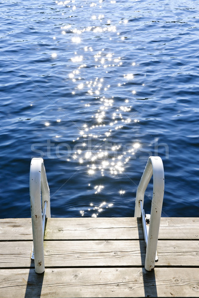 Dock on summer lake with sparkling water Stock photo © elenaphoto