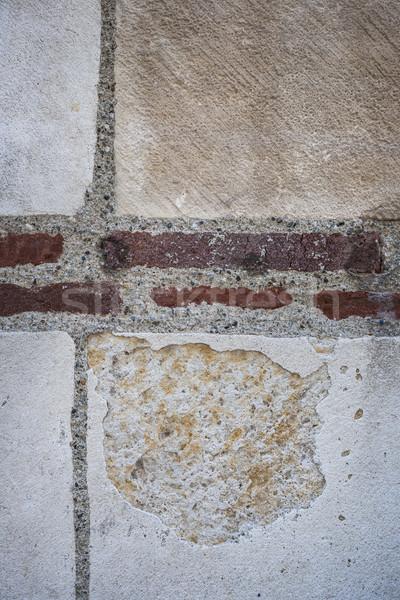 Oude muur fragment baksteen stenen muur Stockfoto © elenaphoto