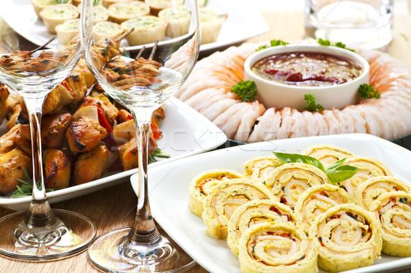Aperitivos muitos pratos morder tamanho comida de festa Foto stock © elenaphoto