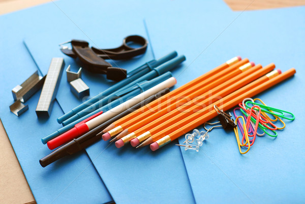 Iskola irodaszerek kék papír mappák üzlet Stock fotó © elenaphoto