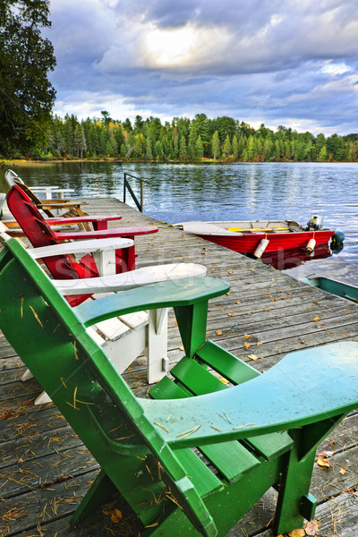 Deck chairs on dock at lake Stock photo © elenaphoto
