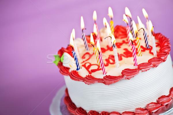 Сток-фото: именинный · торт · свечей · сжигание · пластина · розовый · вечеринка