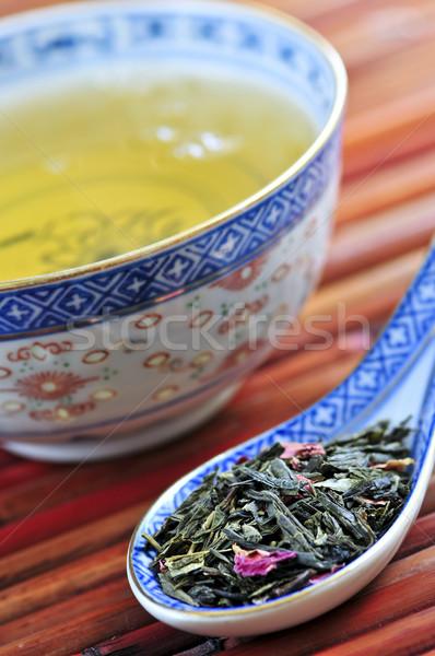 Zöld tea csésze bő száraz levelek kanál Stock fotó © elenaphoto