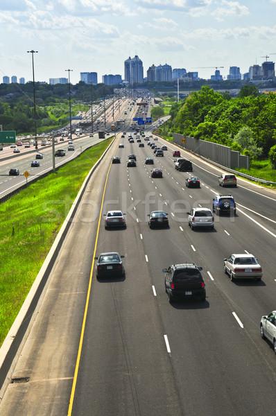 Drukke snelweg groot stad wolken auto Stockfoto © elenaphoto