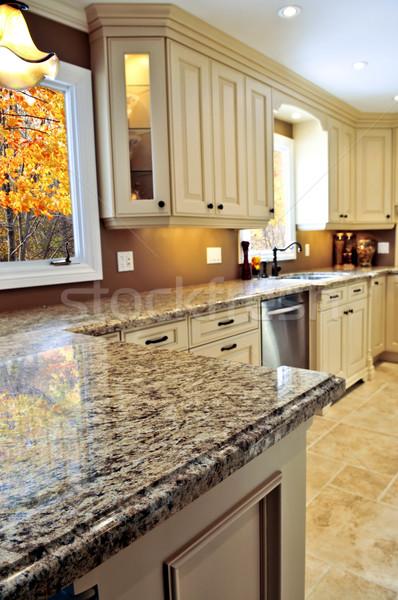 Foto stock: Moderno · interior · da · cozinha · luxo · granito · projeto · casa