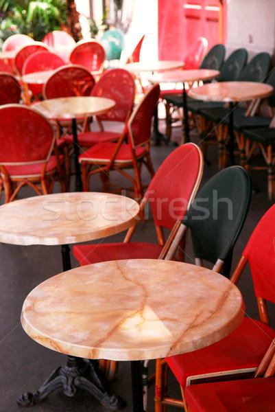 Сток-фото: тротуаре · кафе · красочный · стульев · Париж · Франция