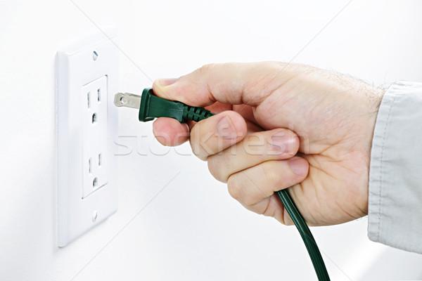 Stockfoto: Hand · plug · groene · elektrische · energie · macht