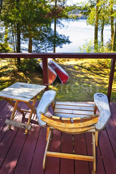 Foto stock: Cadeira · casa · de · campo · convés · lago · ver