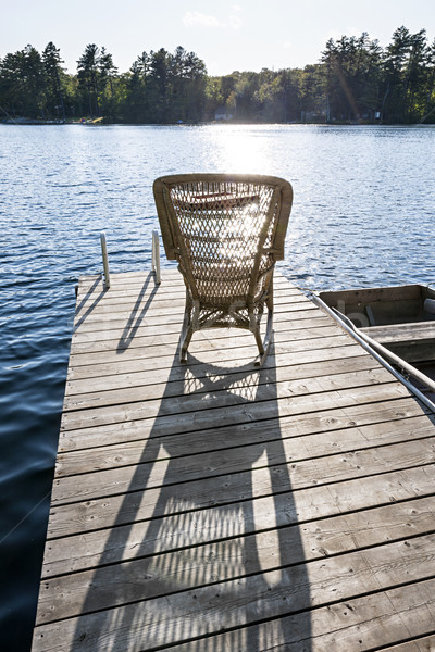Bujane mały jezioro dok wiklina Zdjęcia stock © elenaphoto