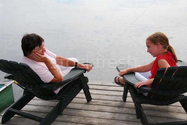 Family on dock Stock photo © elenaphoto