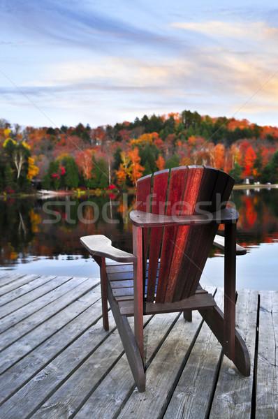 Wooden dock on autumn lake Stock photo © elenaphoto