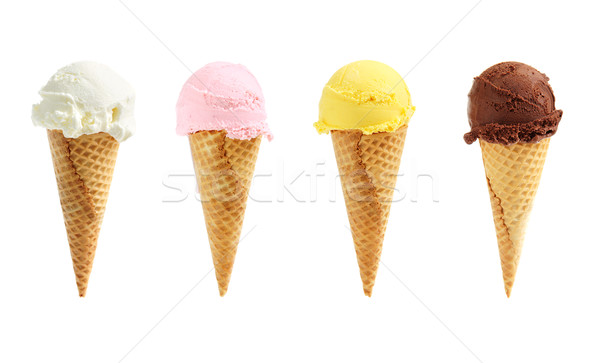 Assorted ice cream in sugar cones Stock photo © elenaphoto