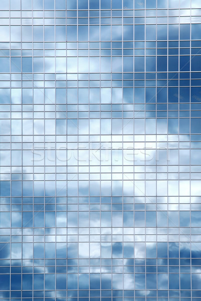 Foto stock: Nuvens · reflexão · prédio · comercial · nublado · céu · vidro