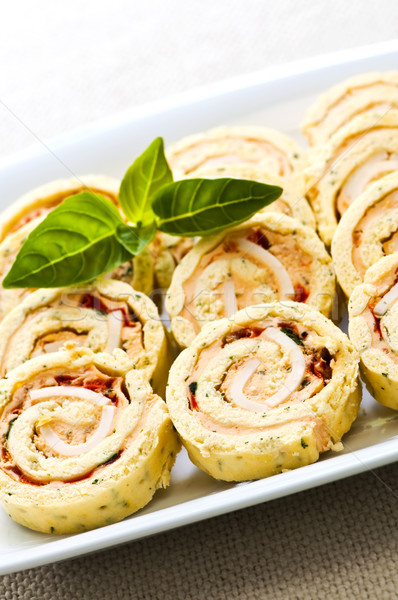 Mini sandwich spiral roll appetizers Stock photo © elenaphoto