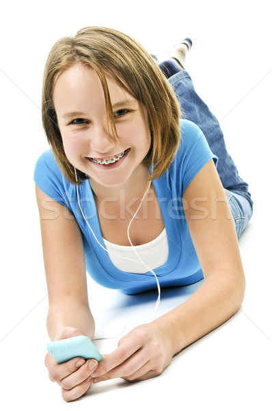 Musik hören mP3-Player Hintergrund Mädchen Kopfhörer Stock foto © elenaphoto