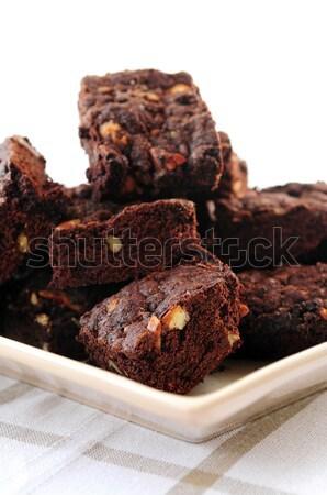 Homemade chocolate brownies Stock photo © elenaphoto