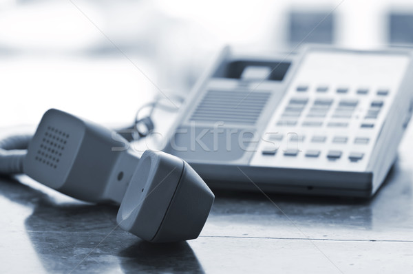 Stockfoto: Bureau · telefoon · af · haak · communicatie
