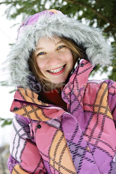 Stok fotoğraf: Mutlu · kış · kız · Kayak · ceket · portre